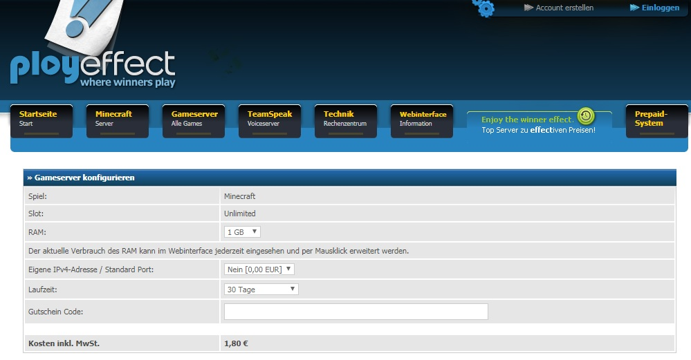 Minecraft Server Mieten Von Playeffectde - Minecraft server webinterface erstellen